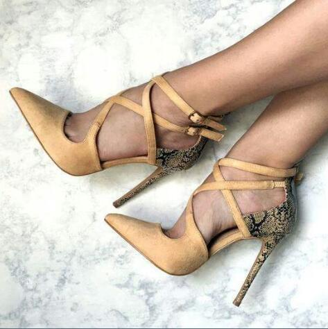 ФОТО  2017 Summer sexy high heel cross-tied buckle strap super high snakeskin thin heels pointed toe women shoes stilettos yellow