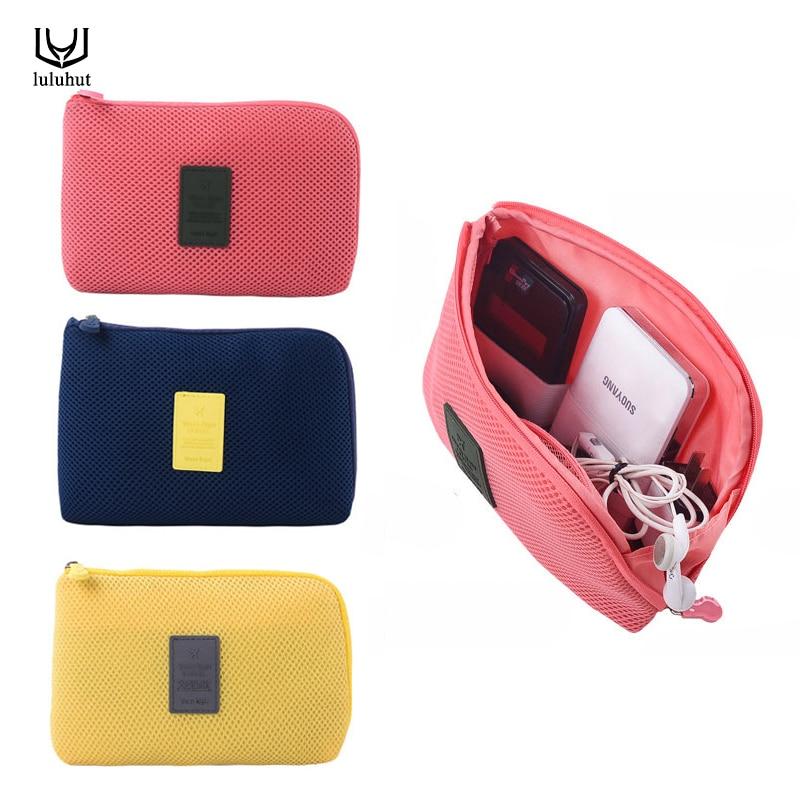 Luluhut reizen opbergtas voor digitale datakabel oplader hoofdtelefoon draagbare mesh spons tas power bank houder make-up tas