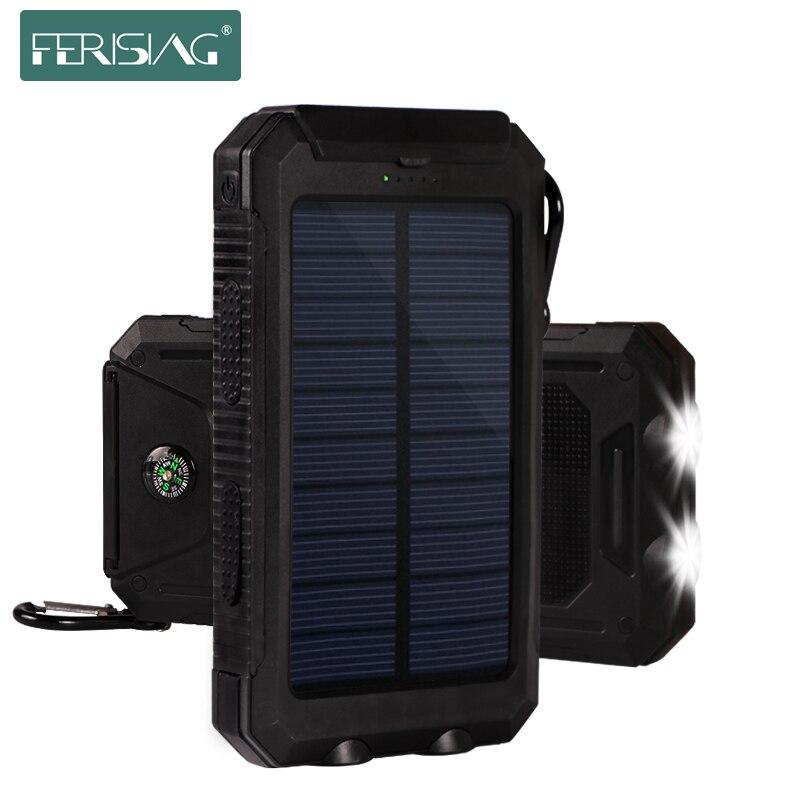 imágenes para Batería Solar Power Bank 10000 mAh Batería Externa Impermeable Pover PowerBank Portátil cargador Solar del teléfono Móvil Cargador de Alimentación Externa