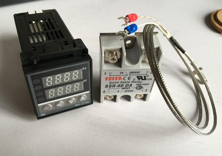 цена на Digital PID Temperature Controller Thermostat REX-C100FK02-V*AN + Max.40A SSR Relay + K Thermocouple Probe 1M