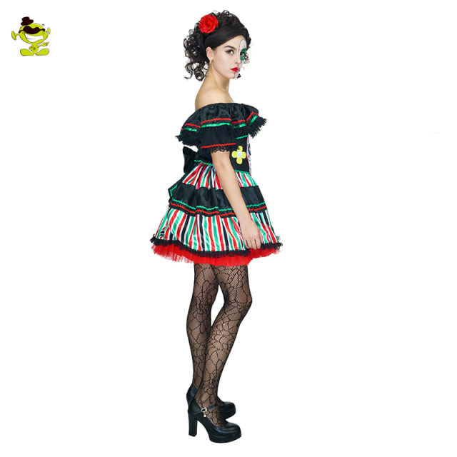 Adultu0027s Sexy Day of Dead Senorita Costume Womens Devil skeleton Costumes For Carnival Halloween Cosplay Party  sc 1 st  Aliexpress : skeleton costumes female - Germanpascual.Com