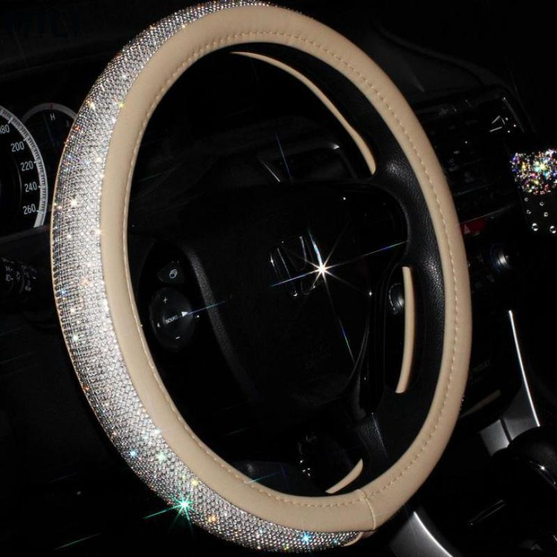 4 Color Luxury Crystal <font><b>Car</b></font> Steering <font><b>Wheel</b></font> <font><b>Covers</b></font> <font><b>for</b></font> <font><b>Women</b></font> Girls Leather Rhinestone Covered Steering-<font><b>Wheel</b></font> Interior Accessories image