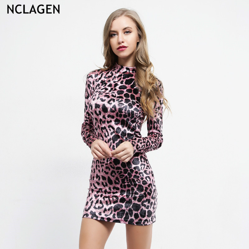 ed0d70bca5f NCLAGEN 2018 New Women Autumn Purple Leopard Dress High Waist Booty Bodycon  Workout Slim Fit Party
