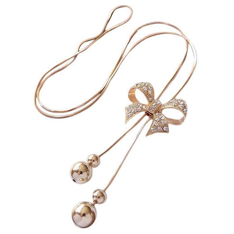 女性ネックレス合金の弓のペンダントぶら下げ縁石チェーンロングチェーンコスチュームジュエリー (ゴールデン)