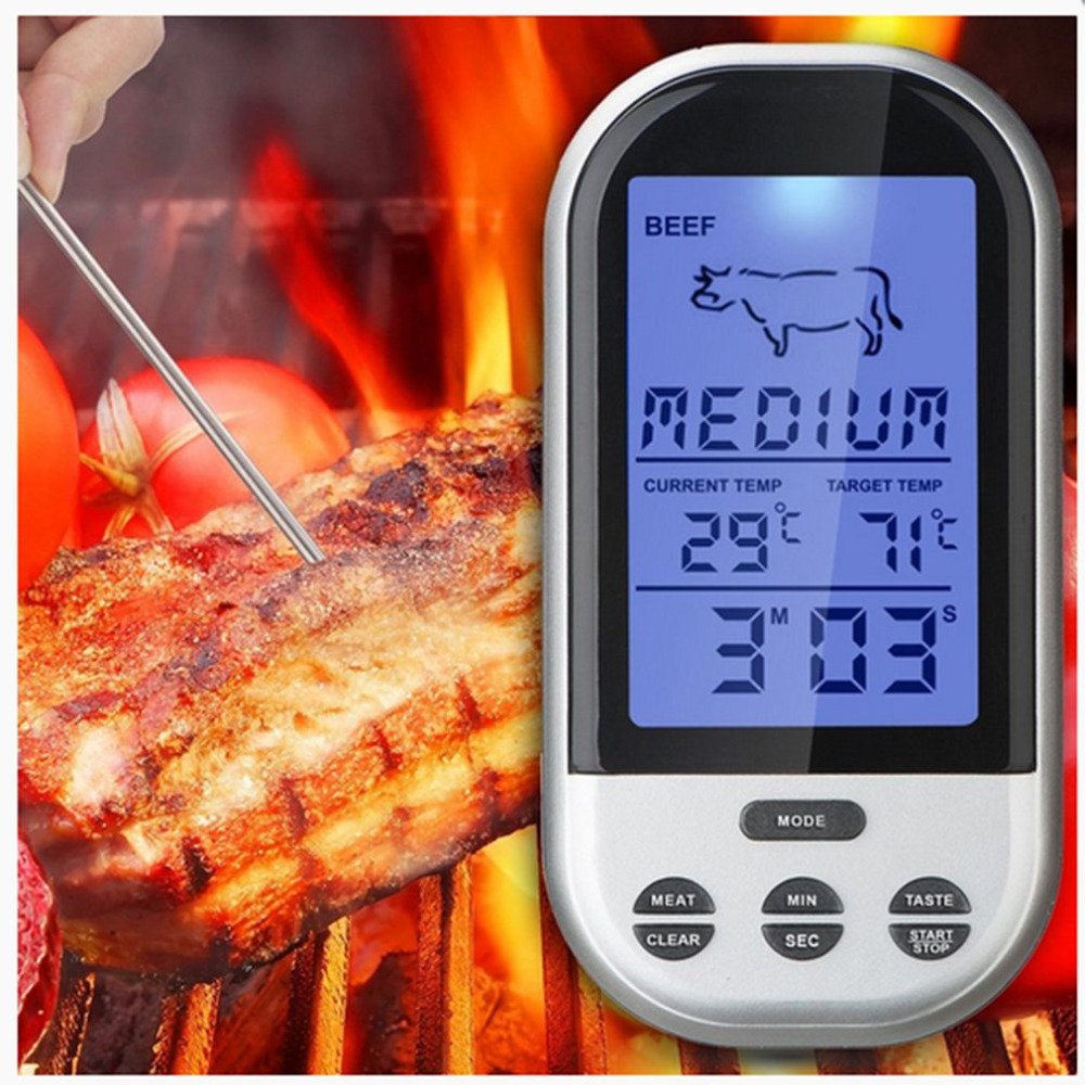 Digital LCD Screen Display Practical Meat ThermometeWireless Barbecue BBQ Meat Thermometer Remote Grill Cooking Food Probe Tools