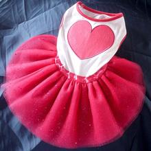 Pet Dog Cat Shining Heart Print Lace Tutu Dress Teddy Princess Dresses Lovely For Dogs Suitable Clothes D9440