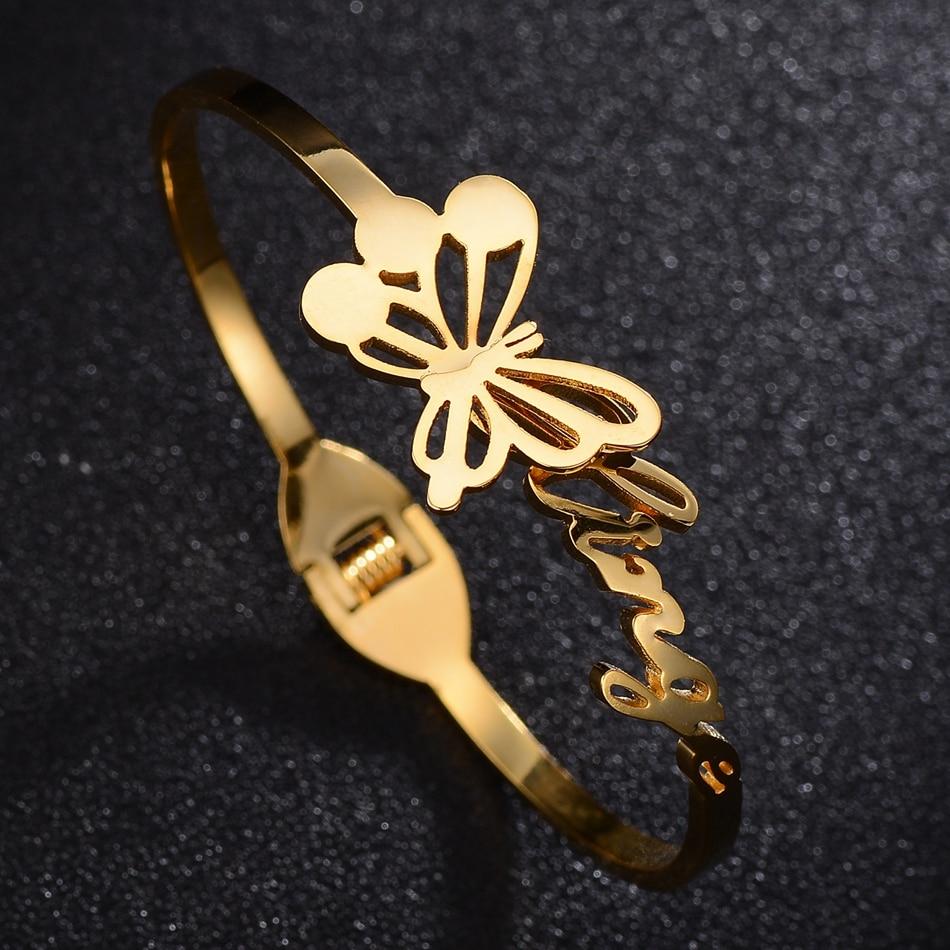 Bracelet & Bangle For Women Fashion Golen Butterfly Trendy Dress Jewerly Ladies Luxury Gold Stainless Steel Jewelry