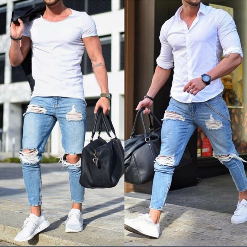 2019 Spring Men Casual Long Pencil Pants Ripped Jeans Skinny Hole Jeans Pants Denim Hiphop Trousers Bodycon Clothes Clothing