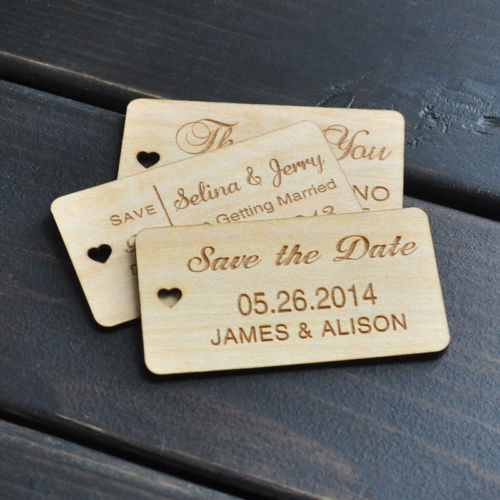 custom save the date wedding thank you wooden gift tags birthday