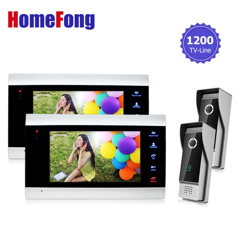 Homefong 7 Inch Monitor Video Doorphones Intercom  Doorbell Camera System 1200TVL HD Monitoring Door Viewer 2V2 Recording new aputure vs 5 7 inch 1920 1200 hd sdi hdmi pro camera field monitor with rgb waveform vectorscope histogram zebra false color