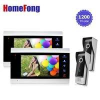 Homefong 7 Inch Monitor Video Doorphones Intercom Doorbell Camera System 1200TVL HD Monitoring Door Viewer 2V2