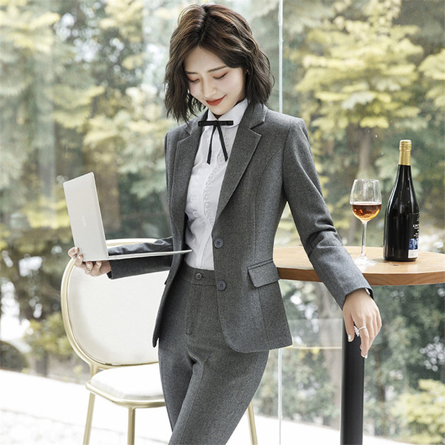 Work Fashion Pant Suits 2 Piece Set for Women singel Breasted solid color Blazer Jacket&Trouser Office Lady Suit Feminino 1