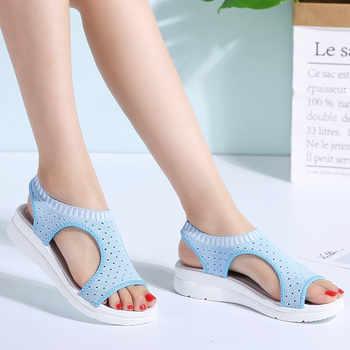 PINSEN 2020 Sandals Women Summer Shoes Breathable Female Shoes Ladies Slip On Flat Platform Sandals Shoes Woman Sandalias