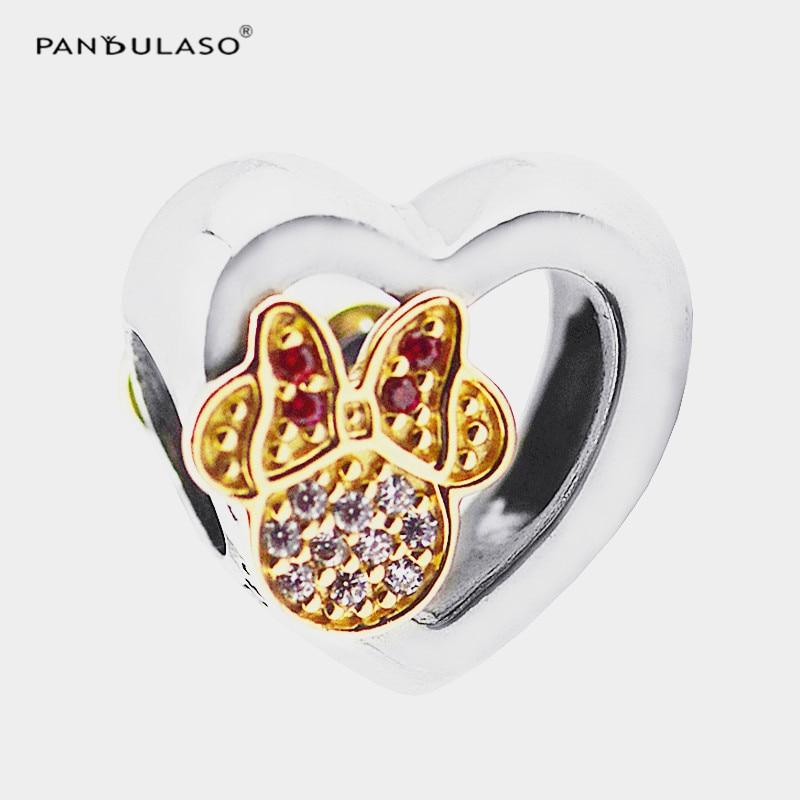 Perles de coeur avec motif de souris Fit Bracelet à breloques en argent et collier 925 bijoux en argent pour les femmes Bracelet bricolage Collection d'hiver