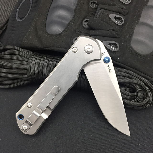 Land 9103 Folding Knife 12C27 Blade Stone Wash Steel handle Outdoor Camping survival EDC Pocket Knives Kitchen Cutting Tool 3