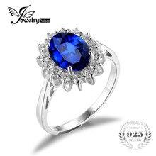 JewelryPalace 3.2ct Creado de Kate Middleton Princesa Diana William Anillo de Compromiso de Zafiro Azul de Plata de ley 925 para Las Mujeres