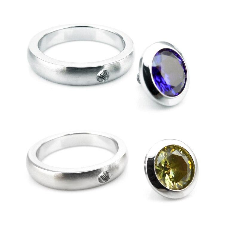 R01-10 stainless steel DIY ring 12 birthstone