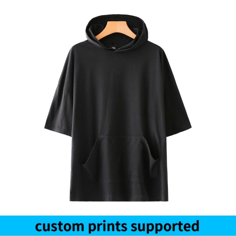 Women/Men Solid Color Hooded T Shirt Summer Short Sleeve Fashion Tshirts Casual Streetwear Trendy Tee Shirts Custom