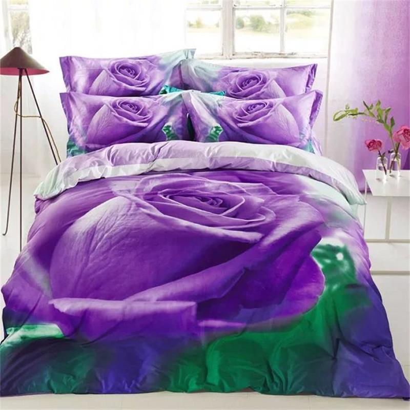 light purple rose 3d floral oil painting bedding set 100  cotton fabric pillowcase bed sheet