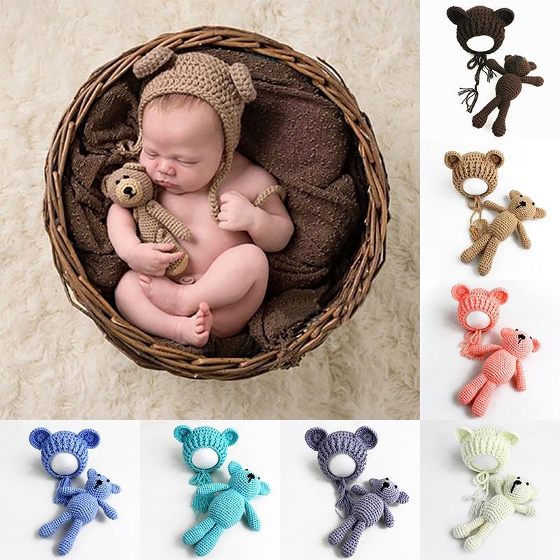 Newborn Baby Photography Props Cute Baby Hat Bear Doll for Boy Girl Baby Beanie Bonnet Enfant Newborn Photography Stuff