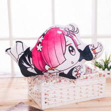 Anime in Different World From Zero Double-Sided Rem Ram Pillow Cute Plush Cushion Throwing Pillowcase Dolls Kids christmas Gift(China)