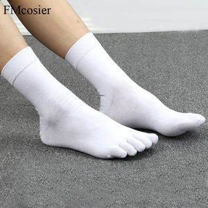 Image 1 - 10 Pairs Spring Summer High Quality Funny Cotton 5 Finger Toe Dress Socks for Men Sokken Socken Black White 39 40 42