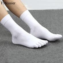 10 çift bahar yaz yüksek kaliteli komik pamuk 5 parmak Toe elbise erkekler için çorap Sokken Socken siyah beyaz 39 40 42