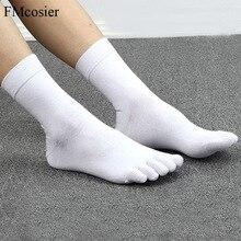 10 par wiosna lato wysokiej jakości śmieszne bawełniane 5 palec u nogi sukienka skarpetki dla mężczyzn Sokken Socken czarny biały 39 40 42