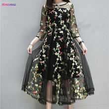 HANZANGL Plus Size Clothing 2017 Summer Dresses Womens Vintage Floral Embroidery Mesh Casual Party Dresses twinset XL-5XL