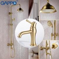 GAPPO Gold Shower Faucets Waterfall Bath Tub Tap Bathroom Mixers Bidet Faucet Muslim Shower Bidet Toilet