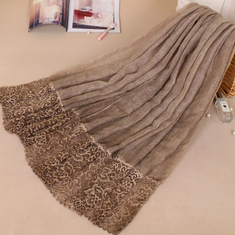 Image 3 - Muslim Amorous Cotton Woman Lace Monochrome Lady Scarf New  Pattern Hijabs Wholesale hijab turban femme turbante mujerIslamic  Clothing
