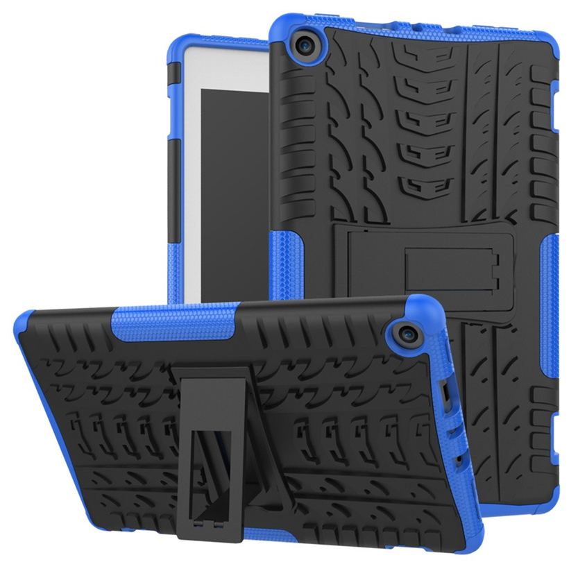 For Amazon Kindle Fire HD 8-inch Shock-proof Mixed Rubber Shell Pure-color Fashion Three-proof Bracket Shell
