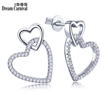 Dreamcarnival1989 Women Studs Earings Cute Pierced Linked Hearts Rhodium-Color Clear White Blinking CZ Paved Boucles doreilles