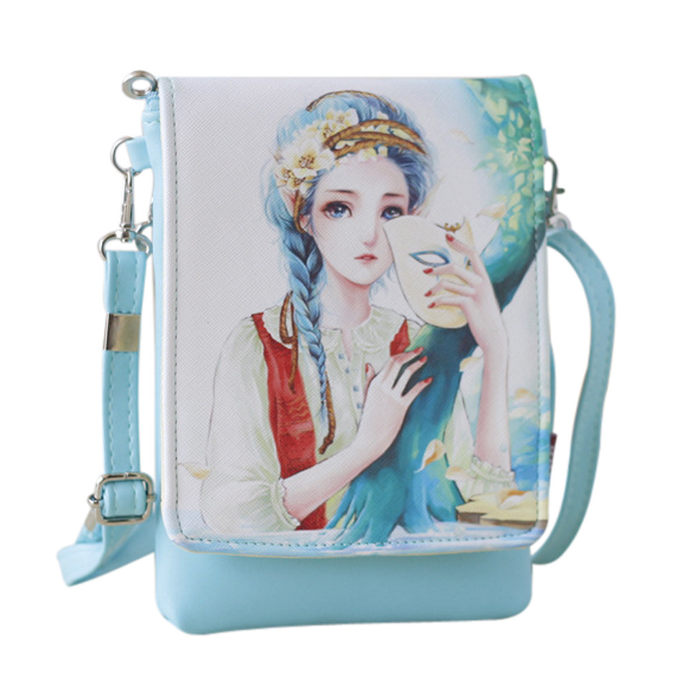 Women Character Leather Handbags Kids Girls Cute Coin Wallet Small Phone Bags Shoulder Bags Pouches bolsa feminina*10