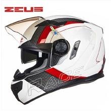 2017 manera de la cara llena zeus dot aprobado cuatro estaciones doble lente resistente y transpirable motocross motocicleta casco de la moto