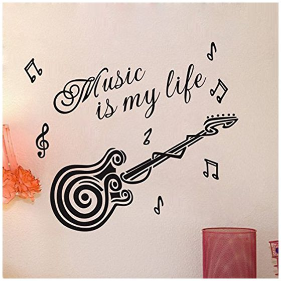 Hot Guitar Inspiring Quote Music Is My Life Wall Sticker For Room Decal
