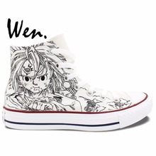 Wen Anime Hand Painted Sneakers The Seven Deadly Sins Man Woman's High Top White Canvas Shoes for Christmas Gifts
