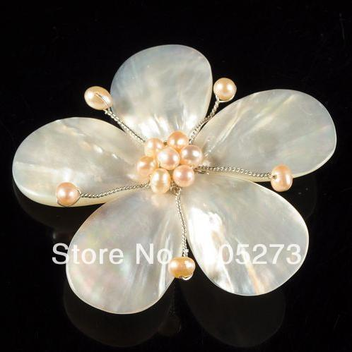купить New Arriver Charming Natural 4-25mm White Shell MOP & Pink Freshwater Pearl Flower Pin Brooch 62mm Handcrafted Fashion Jewelry онлайн