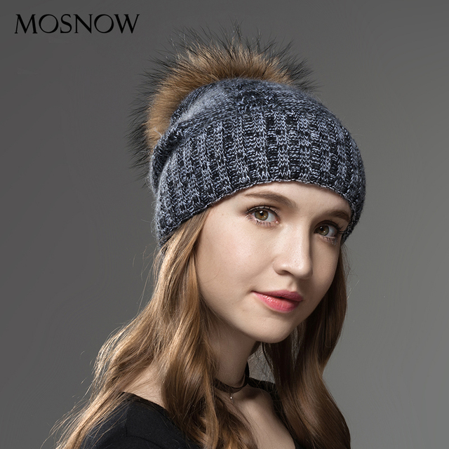 934ad8cb268 Mosnow Winter Hat Female 2017 New Wool Raccoon Fur Pom Poms Brand Casual  Vogue Knitted Women s