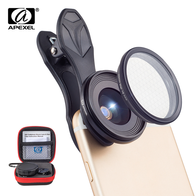 APEXEL العالمي 2 في 1 20X عدسة ماكرو المهنية الهاتف المحمول عدسات الكاميرا مع ستار تصفية آيفون سامسونج شاومي redmi
