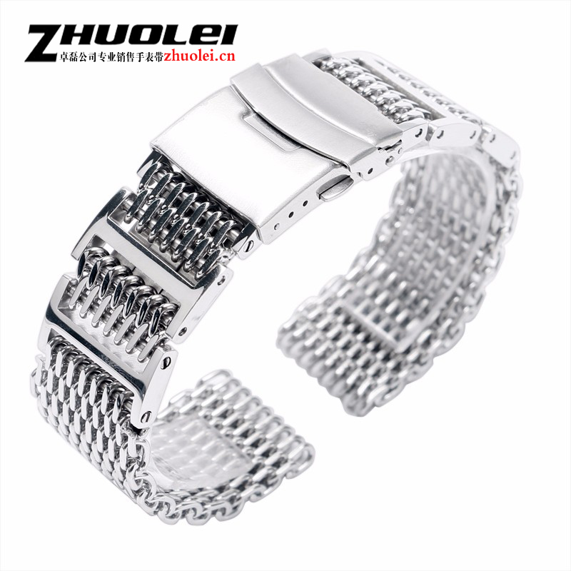 High quality Stainless Steel Silver Shark Mesh 22mm + 2 Spring Bars Men Watch Band Strap Fold Over Clasp with Safety bracelet sitemap 100 xml