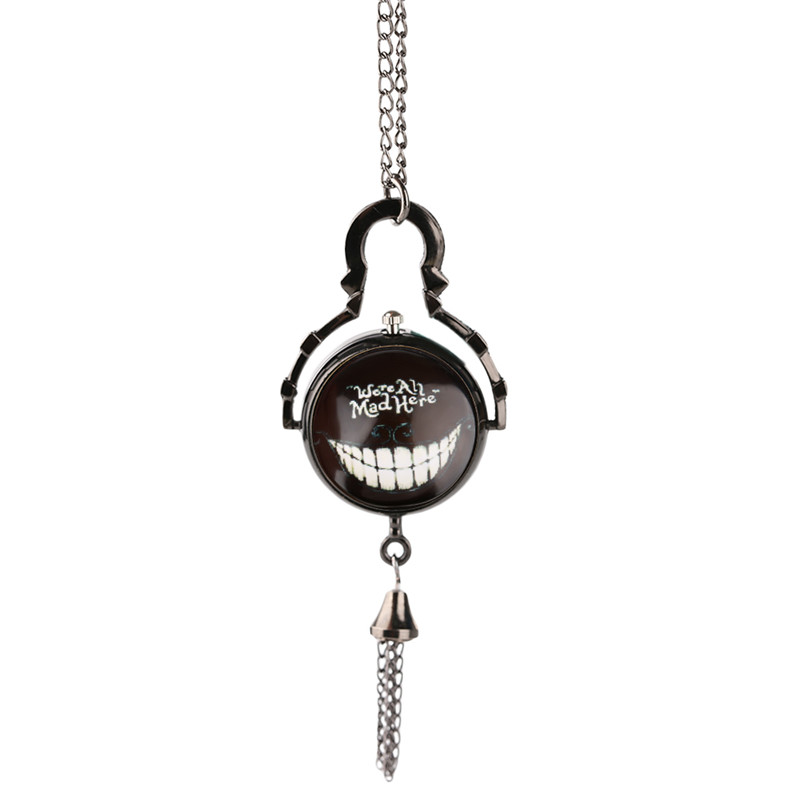 Alice in Wonderland Pocket Watch Classic Smile of Cheshire Cat Mad Script Slim Necklace Cool Anime Pendant Clock Gifts for Kids in wonderland lp cd