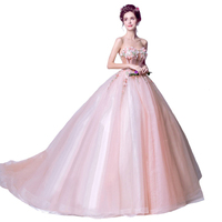 2018 Sweet Pink Lace Evening Dress Bride Strapless Sweep Train Appliques with Beading Long Prom Formal Party Gown