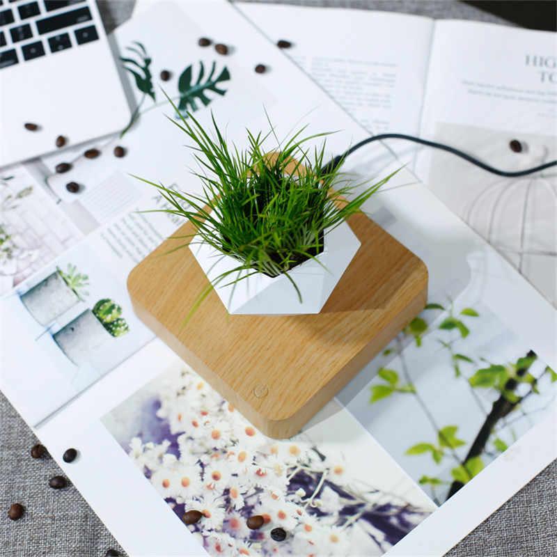 Levitando Vaso de Bonsai Flor Pote Plantadores de Rotação de Ar Suspensão Levitação Magnética Flutuante Vaso de Planta Em Vaso Home Decor Desk