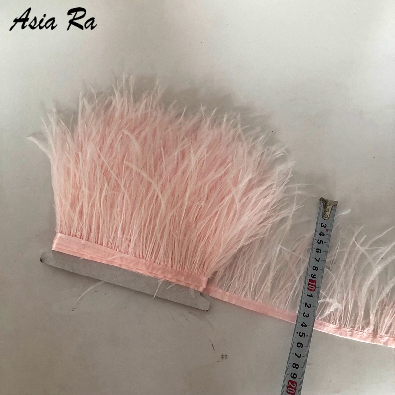 Asia Ra 10M Baby Pink Ostrich Feather Trims Width 4 6inch wedding feathers fringes strips for