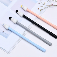 36pcs/lot Cartoon Animal Stationery Hippo Gel Pen 0.5mm Black Fountain for Students