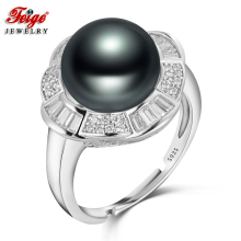 Vintage Luxury 925 Sterling Silver Pearl Ring for Ladies Party Jewelry Gifts 10-11MM Black Freshwater Pearls Wholesale FEIGE