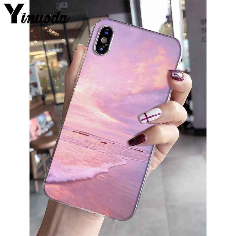 Yinuoda Roze leuke kawaii sky ruimte Zonsondergang Cloud Art Coque Shell Telefoon Case voor iPhone 8 7 6 6S plus X XS MAX 5 5S SE XR 10 Gevallen