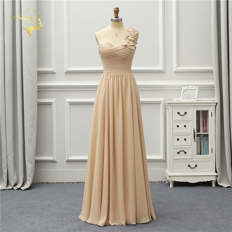 Jeanne Love Formal Long Evening Dress 2019 One Shoulder Chiffon Robe De Soiree Vestido De Festa OL5242 Prom Event Gowns Party
