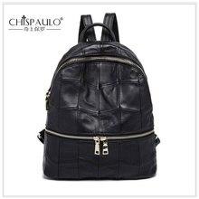 CHISPAULO женщины рюкзак плеча Сумки Натуральная кожа сумка женщин повседневные сумки Мода Цепи Дамы Улица груди мешок черный